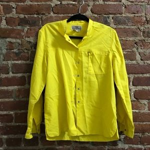 Vintage oversized bright yellow button-up shirt
